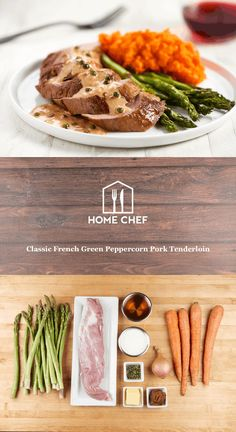 This meal is your ticket to a quaint bistro in the countryside of France. A creamy demi-glace sauce studded with shallots and briny green peppercorns accent tender pork perfectly. Savory mashed carrots and roasted asparagus provide hearty and delicious sides.