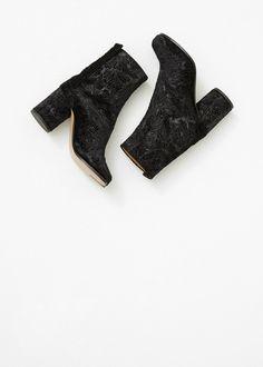 Maison Martin Margiela Split Toe Tabi Boot in Black Velvet at Totokaelo — http://totokaelo.com/maison-martin-margiela/split-toe-tabi-boot/black/L13295