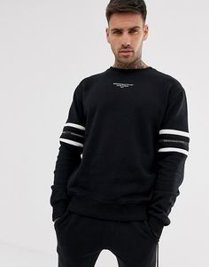Good For Nothing muscle sweatshirt in black with cut & sew sleeve detail at ASOS. Printed Sweatshirts, Mens Sweatshirts, Track Suit Men, Junior Fashion, Shirt Print Design, Stylish Mens Outfits, Cool Hoodies, Look, Men Sweater