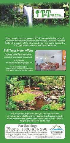 Tall Trees Motel is a great Boutique Budget Accommodation on Tamborine Mountain giving you more to spend on your activities and attractions to see what Tamborine really has to offer. For more info or to book visit us online http://ticketsandtours.com.au/travel/tall-trees-motel/