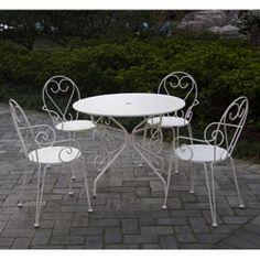 Salon de jardin métal blanc 'ROMANCE' : 1 table ronde + 4 fauteuils
