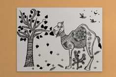 Rajasthani Ornamented Camel in a Barren Land Mggk by Mggkarthouse  #canvas #holiday #gifts #christmas #handmade #handdesigned #lineart #zentangle #indiaart #buynow #camel #uniquegifts