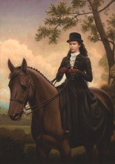Sisi wearing a riding dress riding horse by ? (location unknown to gogm) | Grand Ladies | gogm