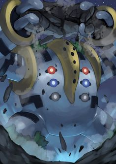 It's Regigigas, the Colossal Pokemon. It is the trio master of Hoenn's Legendary titans because it created them from inanimate objects and brought them to life. It has huge power and can move the continent. Pokemon Fusion Art, Mega Pokemon, Pokemon Fan Art, Cool Pokemon Wallpapers, Cute Pokemon Wallpaper, Pokemon Images, Pokemon Pictures, Groudon Pokemon, Equipe Pokemon