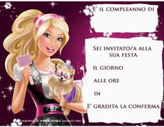 inviti da stampare gratis di Barbie Disney