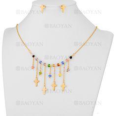 collar y aretes de bolas con cruz de dorado en acero inoxidable-SSNEG483501