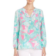 Lilly Pulitzer Elsa Silk Top ($165) ❤ liked on Polyvore featuring tops, apparel & accessories, tropical, blue top, long sleeve silk top, lilly pulitzer tops, blue long sleeve top and ruched top