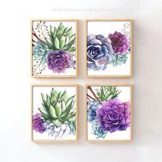 Cactus Wall Art, Cactus Print, Watercolor Succulents, Succulents Art, Lampe Miffy, Decoration Cactus, Succulent Wall, Succulent Planters, New Energy