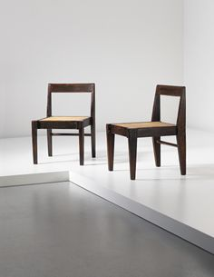 PHILLIPS : UK050114, Pierre Jeanneret, Pair of demountable chairs, model no. PJ-SI-13-A, designed for private residences, Chandigarh