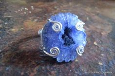 WITCHY MOON GODDESS  Blue Violet Solar Quartz Druzy Sterling Silver Ring Size 6.5 by BadTigerDesigns on Etsy