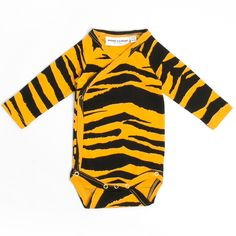 MINI RODINI Orange onesie with tiger stripes