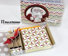 Angie's Day 5 2013 - Post-It Note Kit using a half size wood mount stamp case. It is decorated with Santa's List and Season of Style dsp.