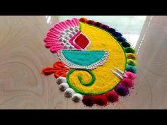 YouTube Easy Rangoli Designs Videos, Simple Rangoli Border Designs, Easy Rangoli Designs Diwali, Indian Rangoli Designs, Rangoli Designs Latest, Rangoli Designs Flower, Free Hand Rangoli Design, Small Rangoli Design, Rangoli Ideas