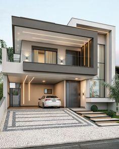 Best Modern House Design, Modern Villa Design, Modern Exterior House Designs, Modern House Plans, Modern Contemporary House, Modern House Facades, Exterior Design, 2 Storey House Design, Bungalow House Design