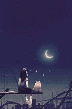 Hello new kitty! I saw another cat who was alone. Your name is Moonlight. I promise Cute Girl Hd Wallpaper, Cute Love Wallpapers, Cute Wallpaper Backgrounds, Cute Cartoon Wallpapers, Moonlight Photography, Anime Triste, Cartoon Girl Images, Girly Drawings, Beautiful Moon