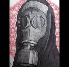 Wow! So amazing gas mask artwork by @paradoxical_g it is a dotwork drawing made with black fineline pens. by dailyart