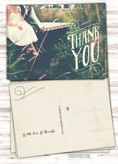 Wedding Thank You Postcard Vintage Postcard Thank You Card