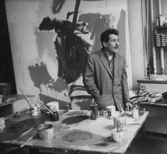 Franz Kline in his Studio (Atelier), 1958. Photo by Peter Stackpole