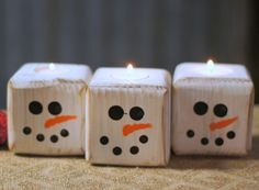 """Set of Three Reclaimed Wood Snowmen Tealight Candle Holders. Height Approx: 3.5"""" Length 3.5"""" Rustic Primitive Christmas Decor. Adorable Wooden Snowman for Table Top, Mantle, Shelves. Made with Reclaimed Wood that has been Painted white and distressed. Hand painted snowman faces on each one. Fine for use with real or battery tea lights. Top and inside of tea light holes are painted so these are fine to display without any tea light as well. **************************************** SHIPPING…"""