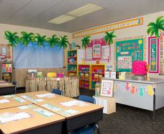 Tropical Punch Classroom - Pineapples everywhere! This happy and vibrant look will brighten up any classroom& practically feel the tropical breezes every time you walk through the door. Elementary Classroom Themes, Classroom Decor Themes, Classroom Setting, Classroom Setup, School Themes, Classroom Design, Kindergarten Classroom, School Classroom, Classroom Activities