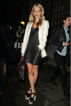 Poppy Delevigne works two trends; monochrome and leather!