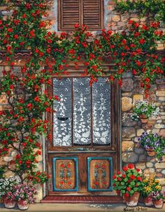 A Floral Welcome ~ Füsun Urkun. Creation Photo, Turkish Art, Hand Drawn Flowers, Unique Buildings, Decoupage Vintage, Window Design, Beautiful Paintings, Windows And Doors, Flower Art