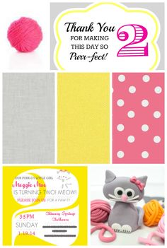 Kitty Cat Birthday Party - Partyspiration Board PartiesforPennies.com