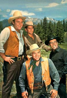 My parents watched this every week! The Cartwrights (from left): Dan Blocker as 'Hoss', Michael Landon as 'Little Joe', Lorne Greene as 'Ben'   Pernell Roberts as 'Adam' in Bonanza (1959-73, NBC)