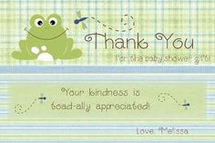 Frog Thank You Card for baby shower  Frog Baby Shower theme / invitation