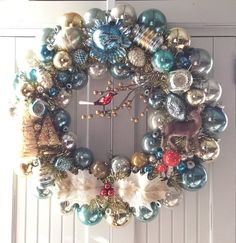 The Woods are Lovely Vintage Christmas Ornament Wreath Blue Gold Silver Red Deer Christmas Ornament Wreath, Vintage Christmas Ornaments, Blue Christmas, Retro Christmas, Holiday Wreaths, All Things Christmas, Christmas Decorations, Christmas Boxes, Christmas 2019