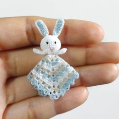 1:12 Dollhouse miniature baby crochet safety blanket with little bunny in blue, model #64