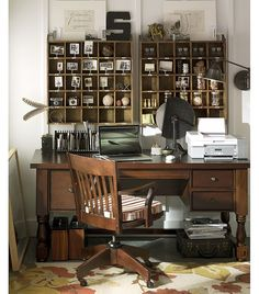 Rustic/Farmhouse style home office  There is just something about little boxes! M.
