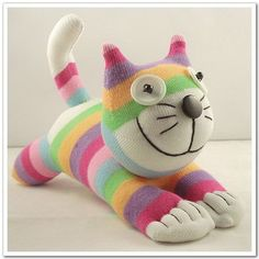 Handmade Sock Cheshire Cat Kitty Stuffed Animal Baby Toy Christmas Gift New Year… Stuffed Animal Cat, Stuffed Animal Patterns, Stuffed Animals, Sock Toys, Sock Crafts, Sock Animals, Clay Animals, Cat Doll, Sewing Toys
