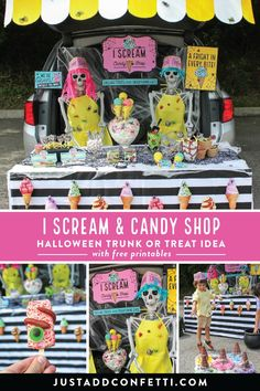 This spooktacular I Scream and Candy Shop trunk or treat display is so much fun! With the ideas, inspiration and free printables you can easily recreate it this season too! #halloween #trunkortreat #JustAddConfetti #freeprintables