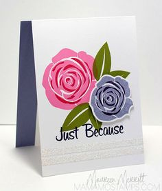Contemporary Roses (My Favorite Things) Ink:  Hibiscus Burst, True Black, Rose Red, Old Olive, Wisteria Wonder, Elegant Eggplant (Stampin' Up), CS:  Whisper White, Wisteria Wonder, MaureenMerritt
