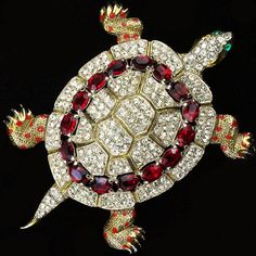 Coro Gold Pave and Rubies Giant Turtle Pin, designed by Alfred Katz 1941-42