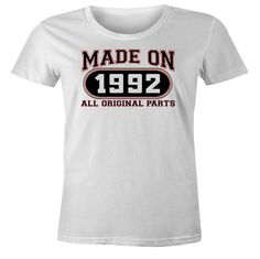 24th Birthday Gift T-Shirt - Made In 1992 All Original Parts - Short Sleeve Womens T-Shirt
