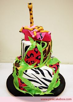 Animal Print Birthday Cake by Pink Cake Box in Denville, NJ.  More photos and videos at http://blog.pinkcakebox.com/animal-print-birthday-cake-2008-11-02.htm