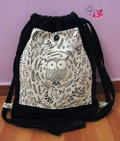 "Backpack  ""Black corduroy & the owl"""