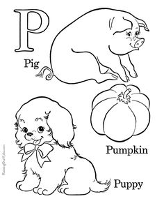Farm Alphabet Coloring Pages Free Printable Letter P Pre K ABC Featuring Kids Page Sheets