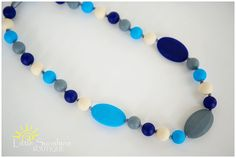 Ocean Blue Silicone Teething Necklace for Mommy! Baby Shower Gift. Nursing Necklace. Sensory Necklace. Baby Teething Necklace   Note: This