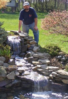 Backyard pond waterfall 39