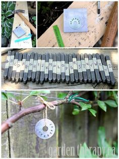 Metal Stamped Plant Tags for espalier apple tree (via Garden Therapy