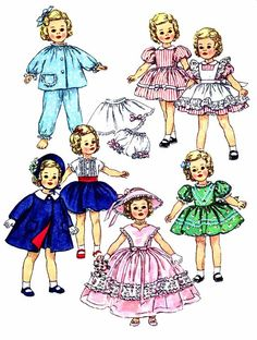Shirley Temple Doll Clothes Wardrobe 1950s by patternshop on Etsy, $16.99