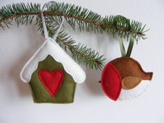 PDF pattern - Set of two Christmas tree ornaments - felt robin and snowy bird house. DIY Christmas decoration. $7.00, via Etsy.