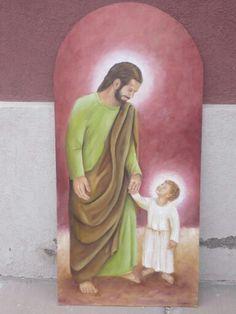 San José y el Niño, oleo sobre madera