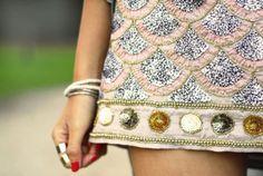 sequin scalloped  Skirt