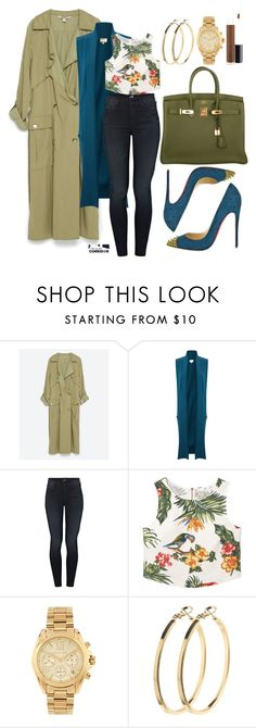 """""""Olive branch"""" by theglamcorridor ❤ liked on Polyvore featuring Christian Louboutin, Hermès, Zara, EAST, Mother, MANGO, Michael Kors, Pieces and MAC Cosmetics"""