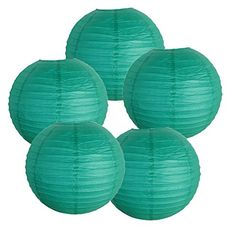 """TEAL Just Artifacts 12"""" Teal Blue Green Paper Lanterns (Set of 5) - Click for more Chinese/Japanese Paper Lantern Colors & Sizes!"""