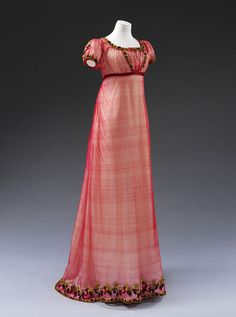 1810, England - Evening dress - Machine made silk net, embroidered with chenille thread, with silk ribbon, hand-sewn